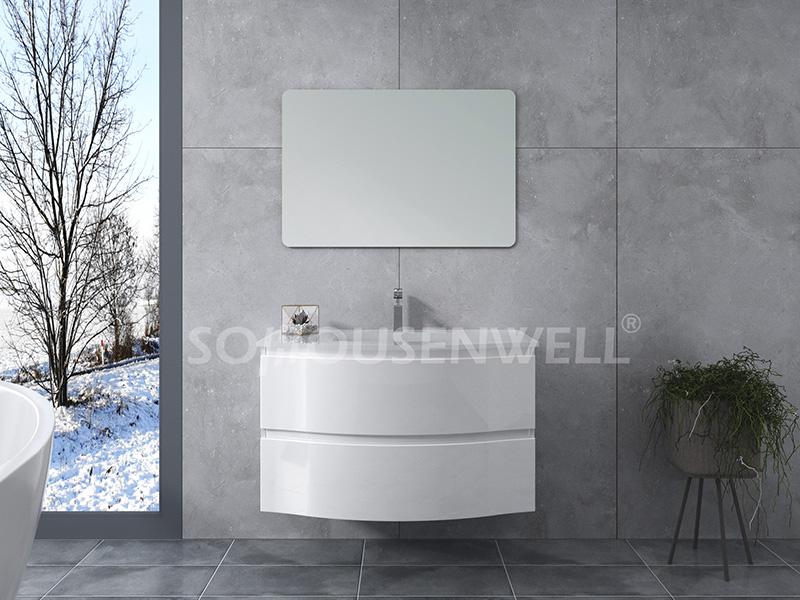HS-E1969 Bathroom wall cabinets mirrors white plastic bathroom vanity curved