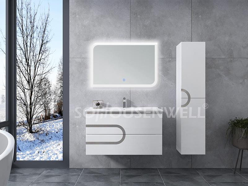 HS-E1979 Restroom vanity bathroom furniture cabinet mirror bathroom vanity LED light