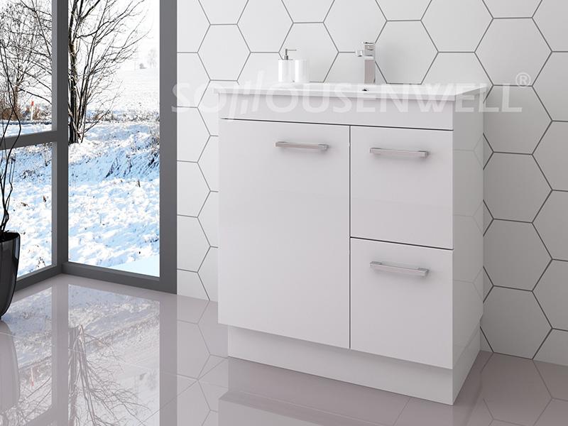 Mia-750 Hot sale white bathroom vanity set bathroom cabinet with basin and mirror