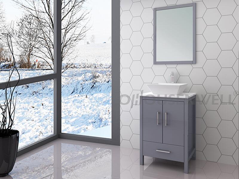 Y19-600 Bathroom furniture vanity wood legs top basin ceramic countertop